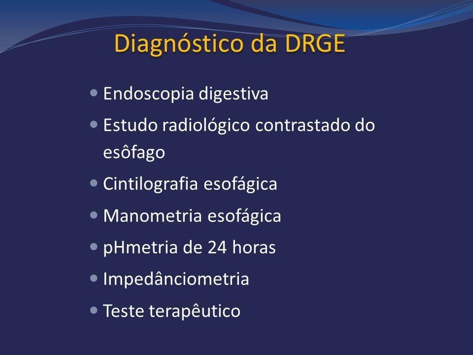 Diagnóstico da DRGE Endoscopia digestiva Estudo radiológico contrastado do esôfago Cintilografia esofágica Manometria esofágica pHmetria de 24 horas I