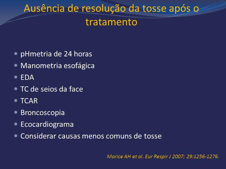 Ausência de resolução da tosse após o tratamento pHmetria de 24 horas Manometria esofágica EDA TC de seios da face TCAR Broncoscopia Ecocardiograma Co