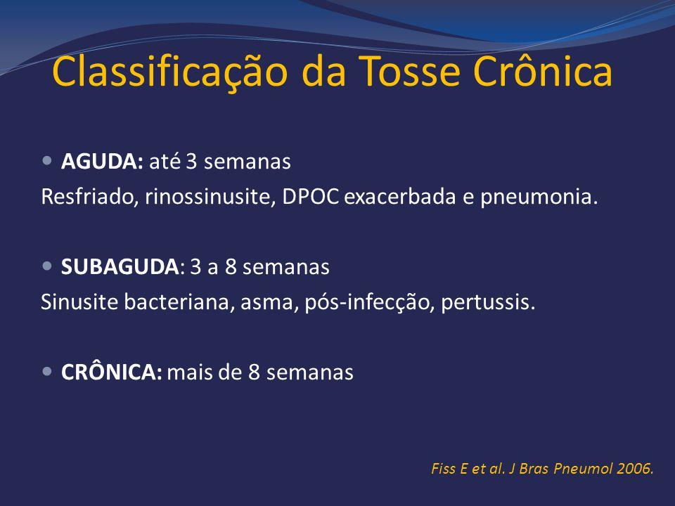 Classificação da Tosse Crônica AGUDA: até 3 semanas Resfriado, rinossinusite, DPOC exacerbada e pneumonia. SUBAGUDA: 3 a 8 semanas Sinusite bacteriana