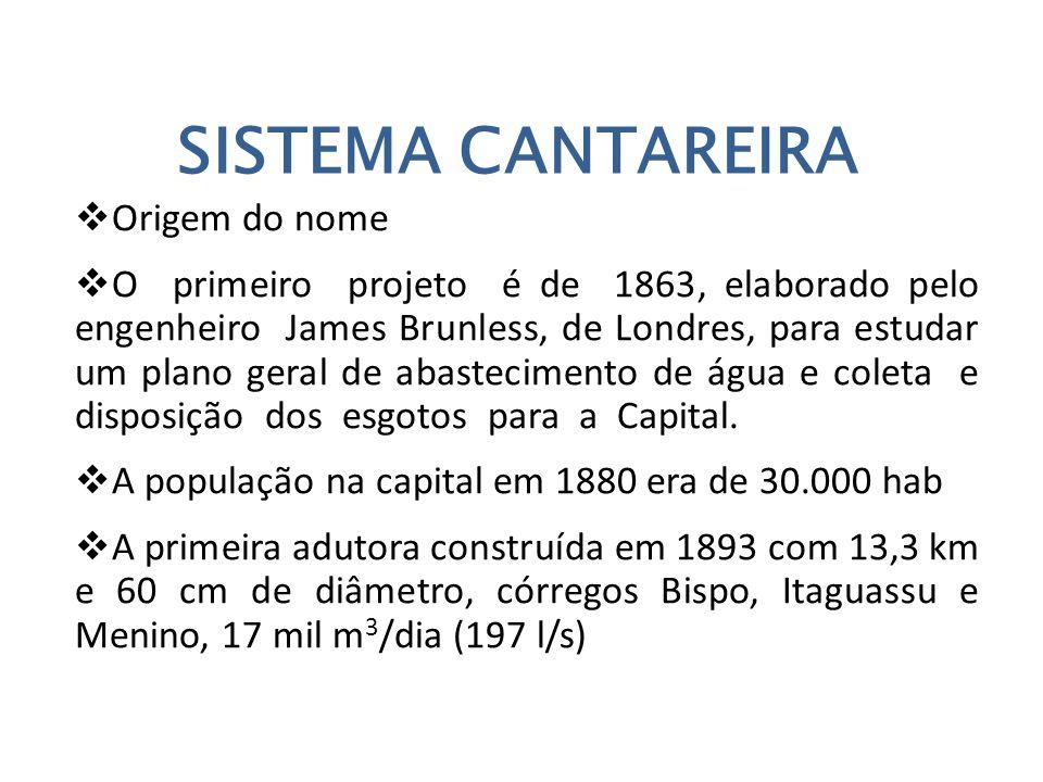 SISTEMA CANTAREIRA  Origem do nome  O primeiro projeto é de 1863, elaborado pelo engenheiro James Brunless, de Londres, para estudar um plano geral de abastecimento de água e coleta e disposição dos esgotos para a Capital.