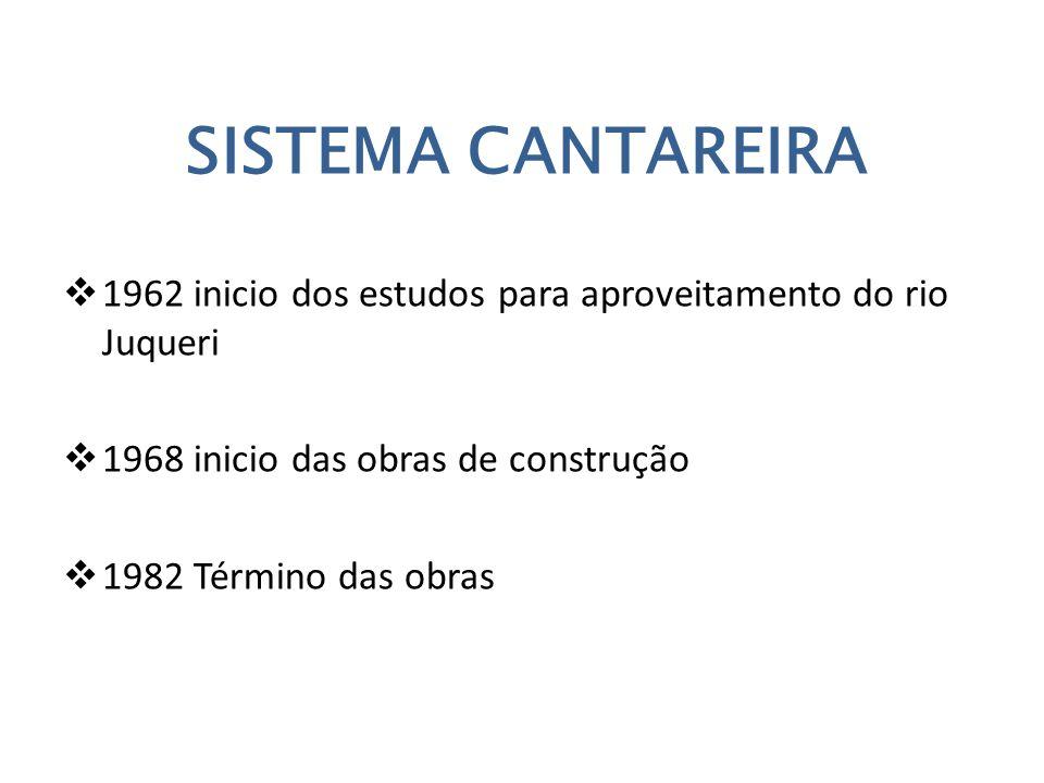 SISTEMA CANTAREIRA  1962 inicio dos estudos para aproveitamento do rio Juqueri  1968 inicio das obras de construção  1982 Término das obras