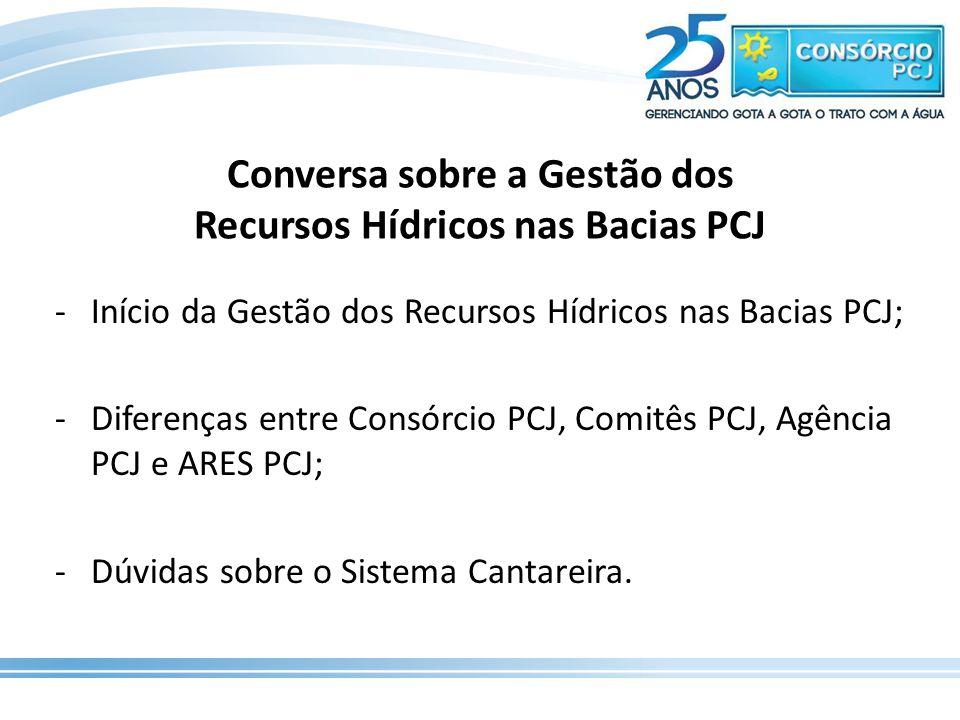 Conversa sobre a Gestão dos Recursos Hídricos nas Bacias PCJ -Início da Gestão dos Recursos Hídricos nas Bacias PCJ; -Diferenças entre Consórcio PCJ,