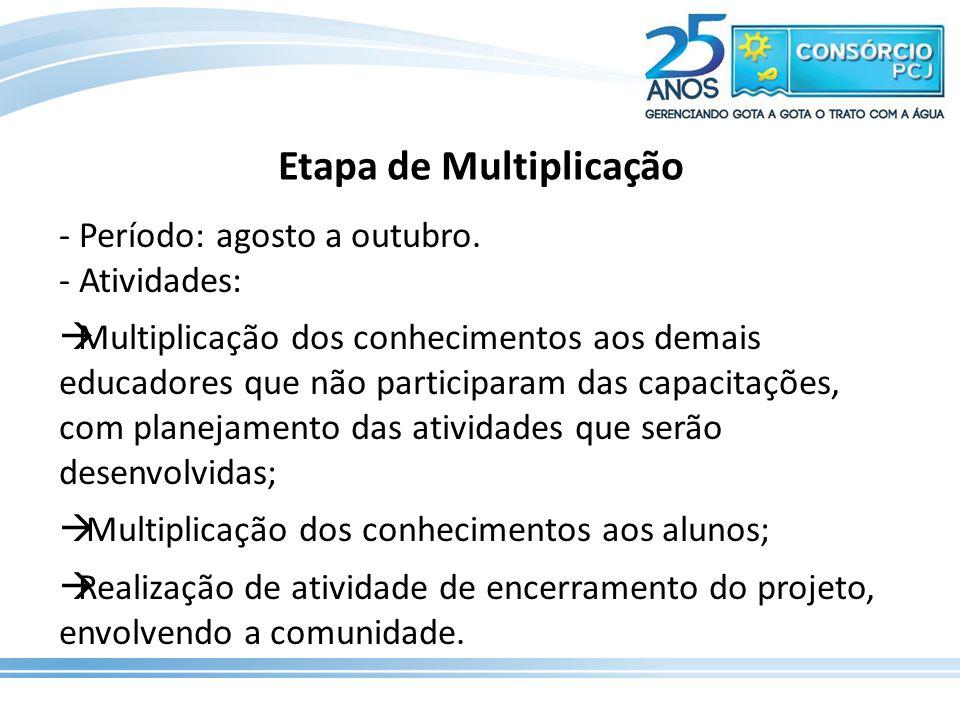 Etapa de Multiplicação - Período: agosto a outubro. - Atividades:  Multiplicação dos conhecimentos aos demais educadores que não participaram das cap