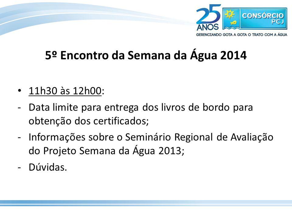 11h30 às 12h00: -Data limite para entrega dos livros de bordo para obtenção dos certificados; -Informações sobre o Seminário Regional de Avaliação do