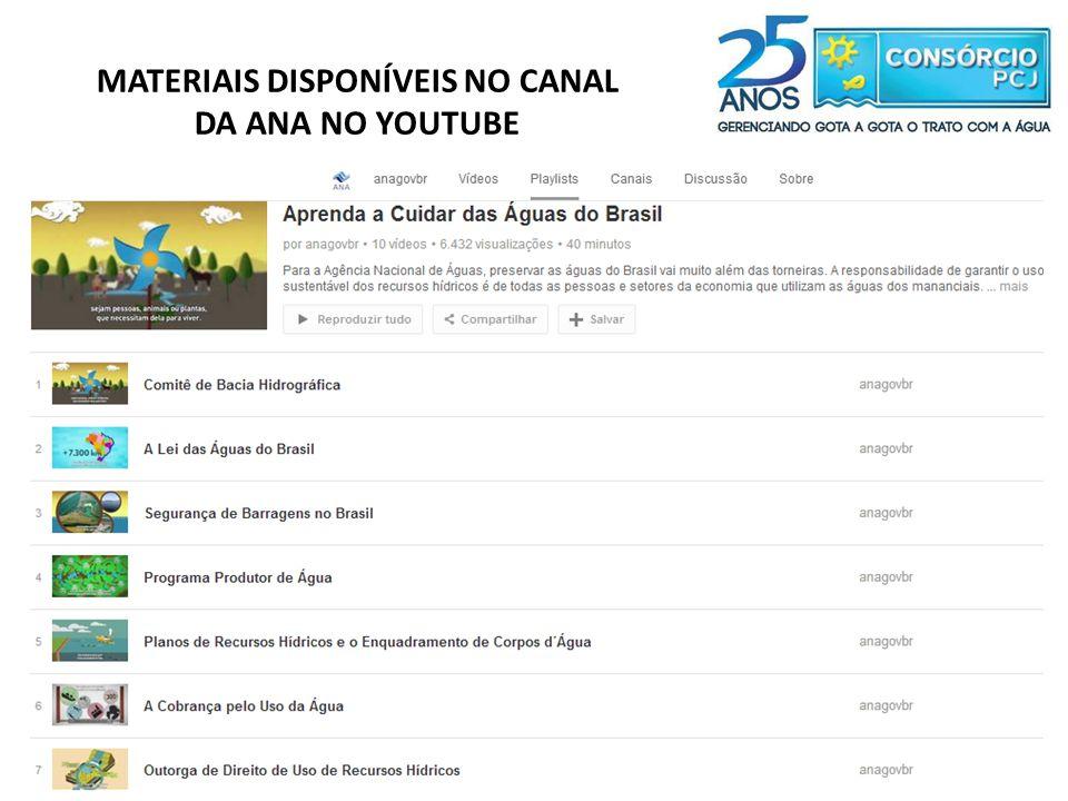 MATERIAIS DISPONÍVEIS NO CANAL DA ANA NO YOUTUBE