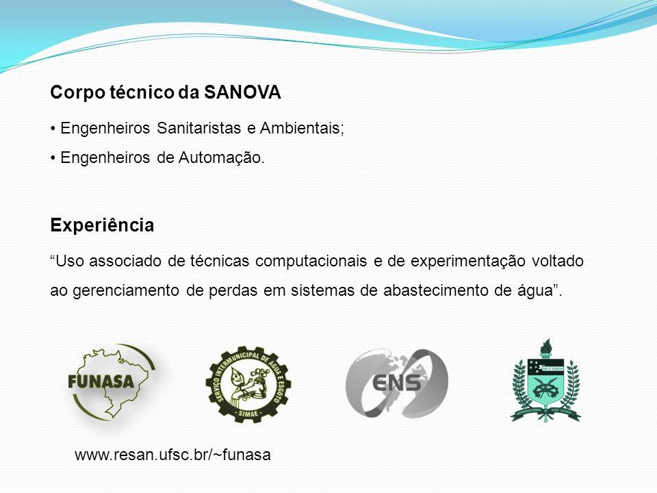 """Corpo técnico da SANOVA Engenheiros Sanitaristas e Ambientais; Engenheiros de Automação. Experiência """"Uso associado de técnicas computacionais e de ex"""