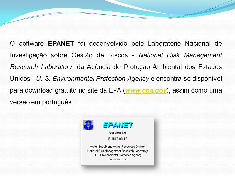 EPANET O software EPANET foi desenvolvido pelo Laboratório Nacional de Investigação sobre Gestão de Riscos - National Risk Management Research Laborat