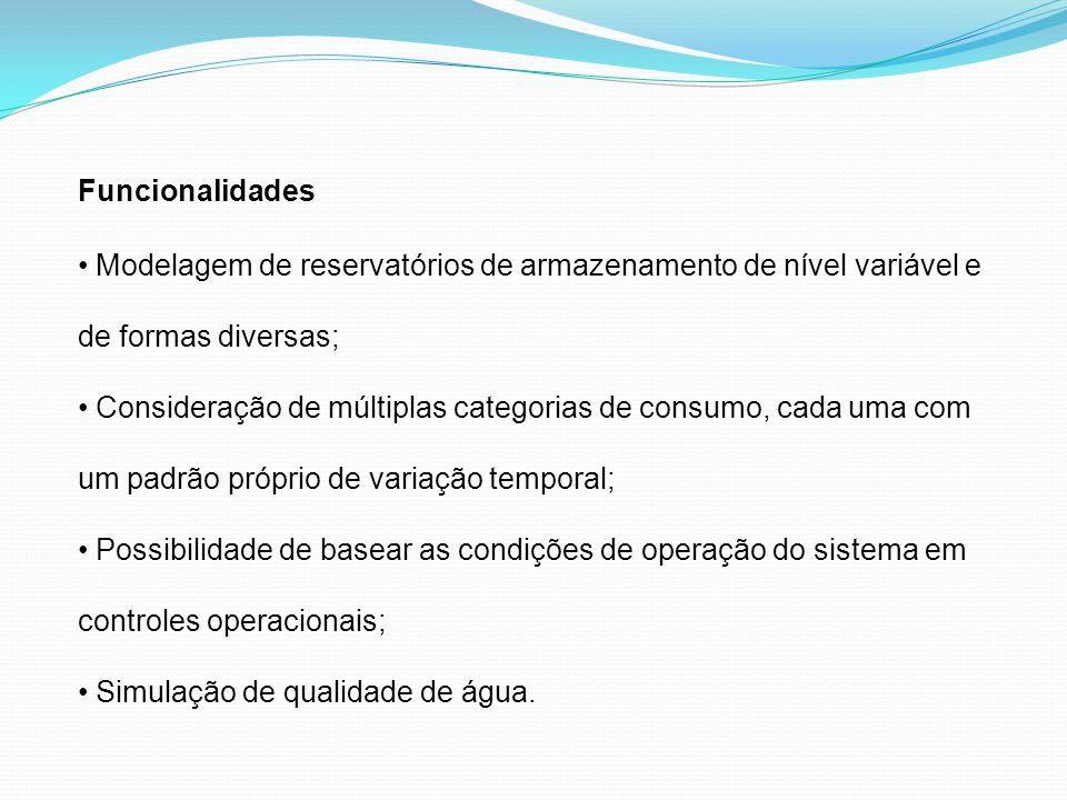 Funcionalidades Modelagem de reservatórios de armazenamento de nível variável e de formas diversas; Consideração de múltiplas categorias de consumo, c