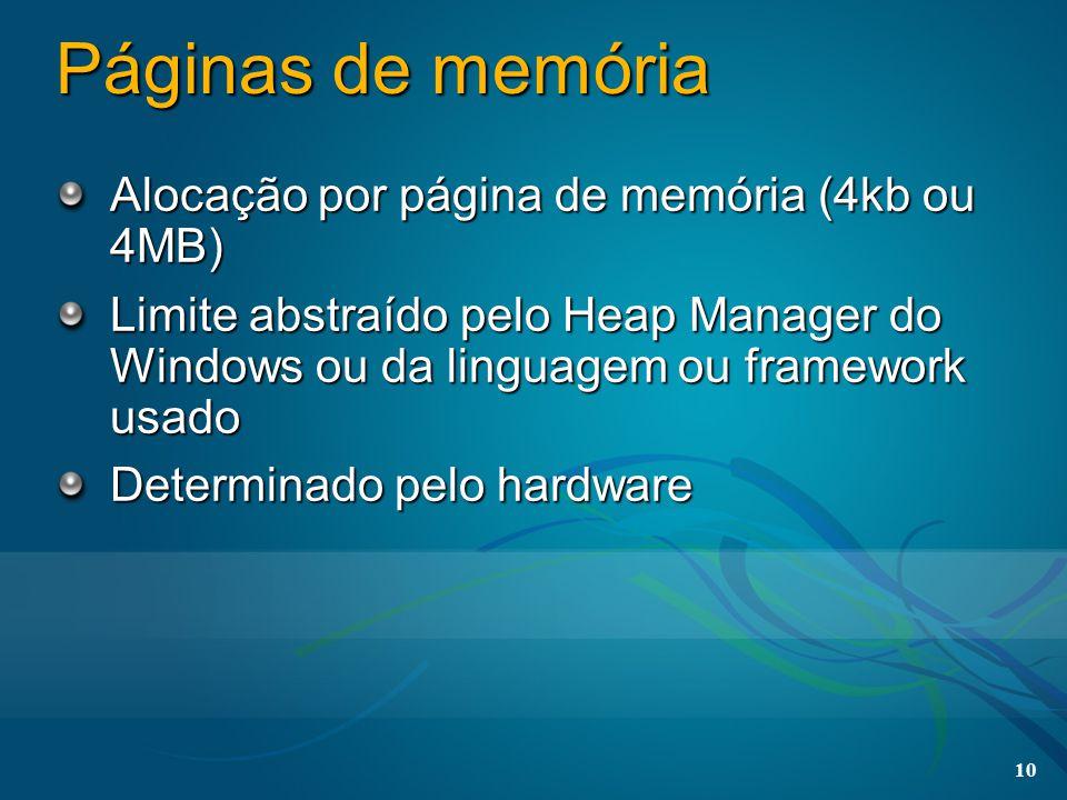 10 Páginas de memória Alocação por página de memória (4kb ou 4MB) Limite abstraído pelo Heap Manager do Windows ou da linguagem ou framework usado Det