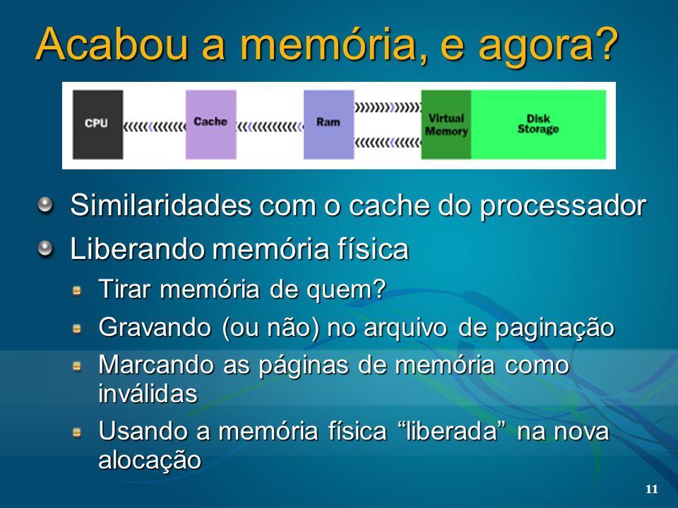 11 Acabou a memória, e agora? Similaridades com o cache do processador Liberando memória física Tirar memória de quem? Gravando (ou não) no arquivo de