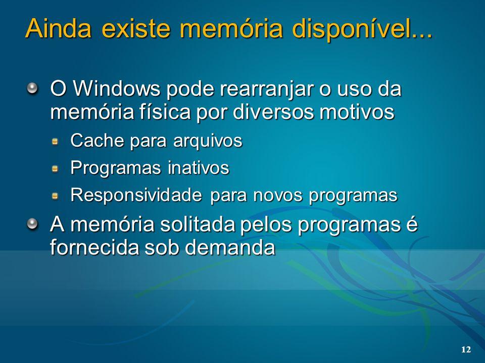 12 Ainda existe memória disponível... O Windows pode rearranjar o uso da memória física por diversos motivos Cache para arquivos Programas inativos Re