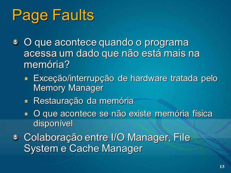 13 Page Faults O que acontece quando o programa acessa um dado que não está mais na memória? Exceção/interrupção de hardware tratada pelo Memory Manag