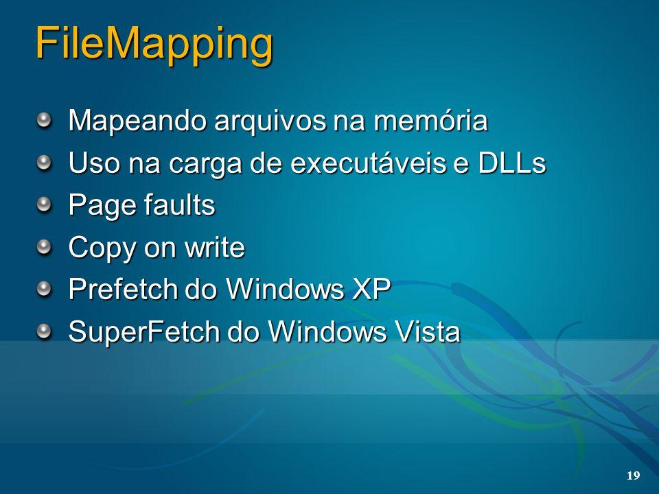 19 FileMapping Mapeando arquivos na memória Uso na carga de executáveis e DLLs Page faults Copy on write Prefetch do Windows XP SuperFetch do Windows