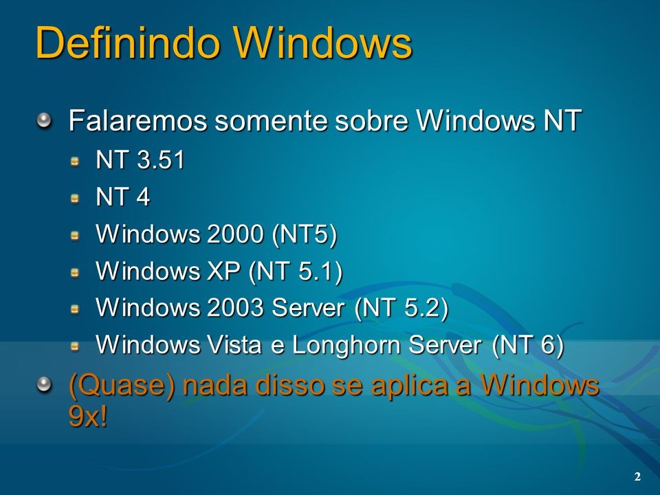 3 Visão Geral do Windows Memory Manager I/O Manager Security Scheduler Object Manager Inter-processCommunication Hardware Abstraction Layer User Mode Kernel Mode NTDLL advapi32kernel32 Registry PowerManagement Plug and Play...