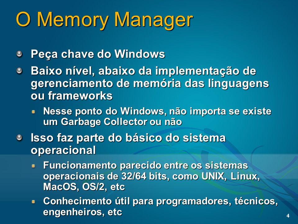 4 O Memory Manager Peça chave do Windows Baixo nível, abaixo da implementação de gerenciamento de memória das linguagens ou frameworks Nesse ponto do