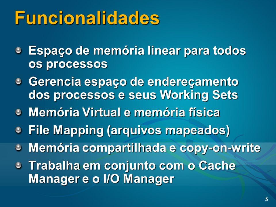 5 Funcionalidades Espaço de memória linear para todos os processos Gerencia espaço de endereçamento dos processos e seus Working Sets Memória Virtual