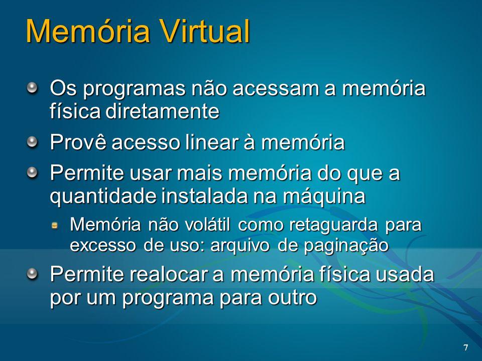 7 Memória Virtual Os programas não acessam a memória física diretamente Provê acesso linear à memória Permite usar mais memória do que a quantidade in