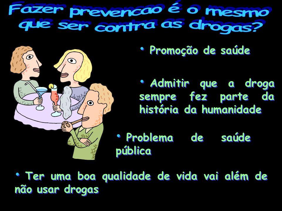 Promoção de saúde Admitir que a droga sempre fez parte da história da humanidade Promoção de saúde Admitir que a droga sempre fez parte da história da humanidade Problema de saúde pública Ter uma boa qualidade de vida vai além de não usar drogas