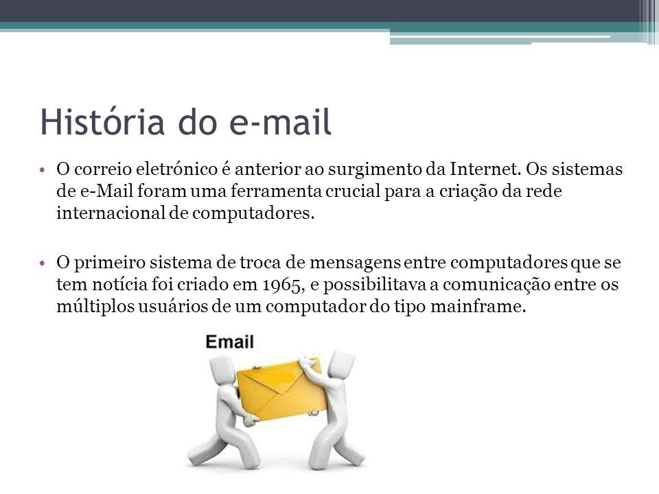 História do e-mail O correio eletrónico é anterior ao surgimento da Internet. Os sistemas de e-Mail foram uma ferramenta crucial para a criação da red