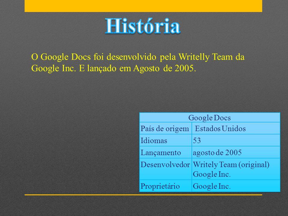 O Google Docs foi desenvolvido pela Writelly Team da Google Inc. E lançado em Agosto de 2005.