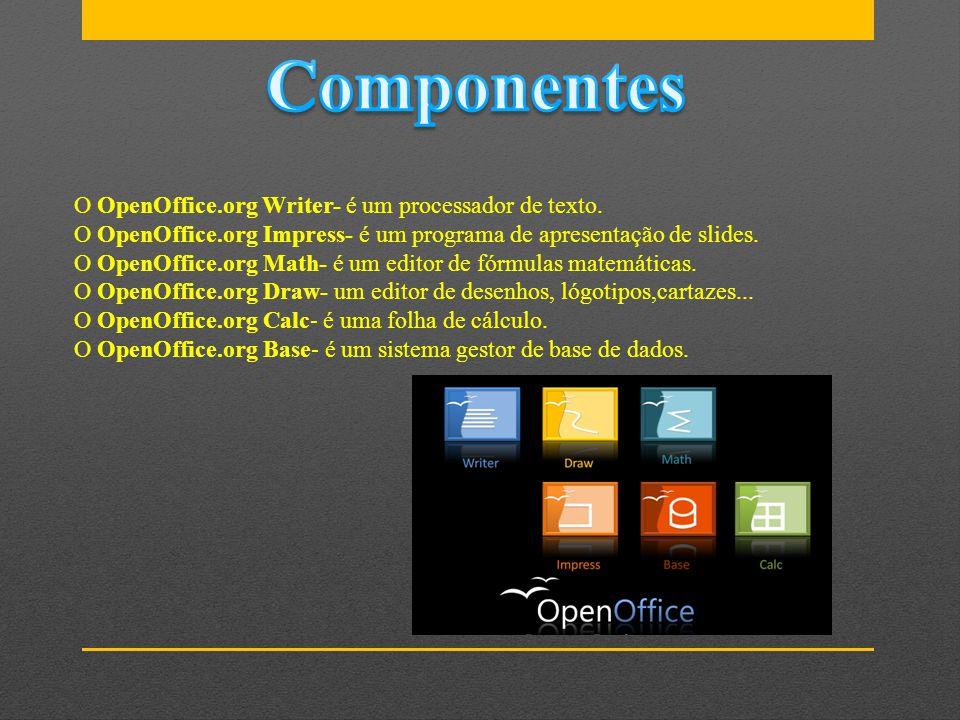 O OpenOffice.org Writer- é um processador de texto. O OpenOffice.org Impress- é um programa de apresentação de slides. O OpenOffice.org Math- é um edi