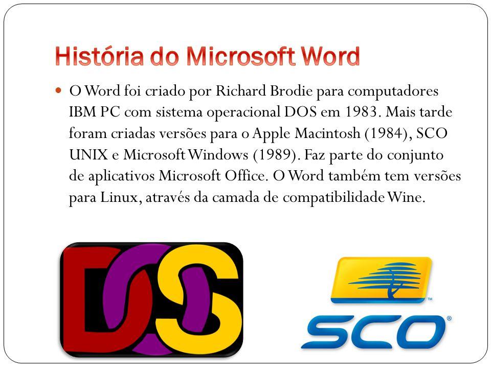 1989- Word 1 para Windows 1991-Word 2 para Windows 1993-Word 6 para Windows 1995-Word 95 também conhecido por Word 7 1997-Word 97 também conhecido por Word 8 1999-Word 2000 também conhecido por Word 9 2002-Word XP também conhecido por Word 2002 ou Word 10 2003-Word 2003 2007-Word 2007 também conhecido como Word 12 2010-Word 2010 também conhecido por Word 14(o numero da versão 13 foi ignorado devido á supersticiosidade do numero 13) 2013-Word 2013 também conhecido por Word 15