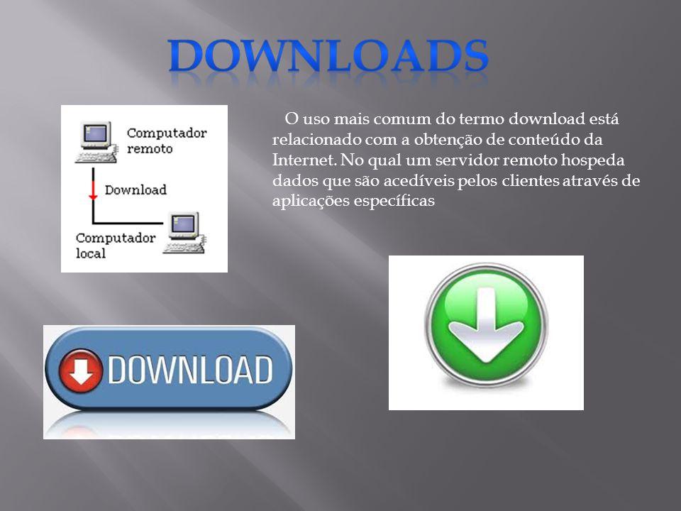 O uso mais comum do termo download está relacionado com a obtenção de conteúdo da Internet. No qual um servidor remoto hospeda dados que são acedíveis
