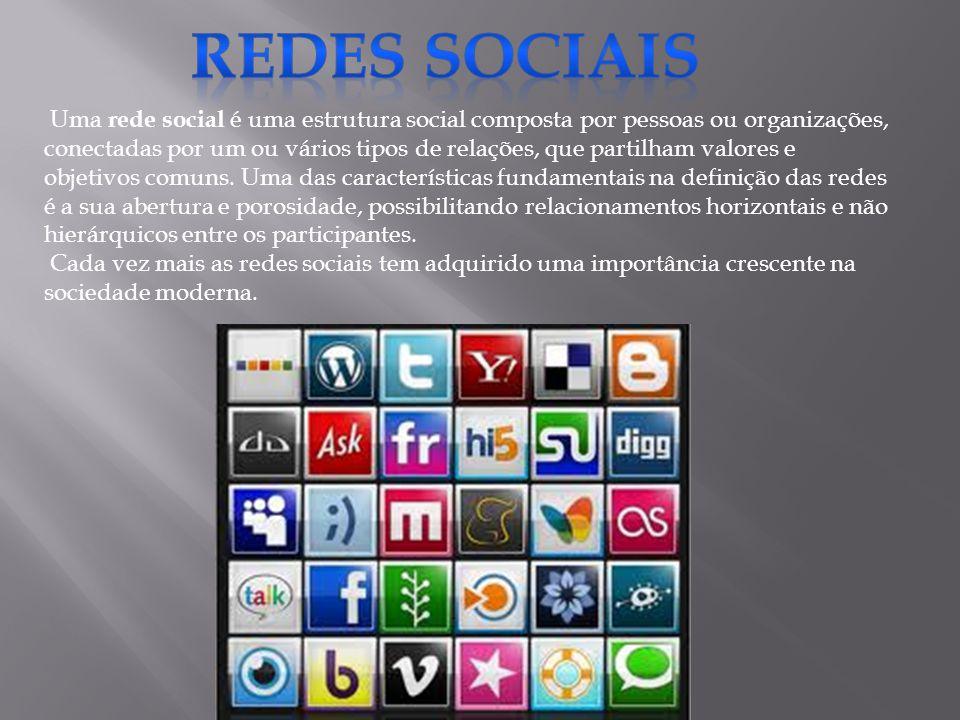 Uma rede social é uma estrutura social composta por pessoas ou organizações, conectadas por um ou vários tipos de relações, que partilham valores e objetivos comuns.