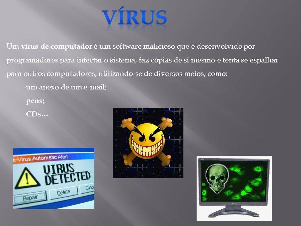 Um vírus de computador é um software malicioso que é desenvolvido por programadores para infectar o sistema, faz cópias de si mesmo e tenta se espalhar para outros computadores, utilizando-se de diversos meios, como: -um anexo de um e-mail; - pens; -CDs…