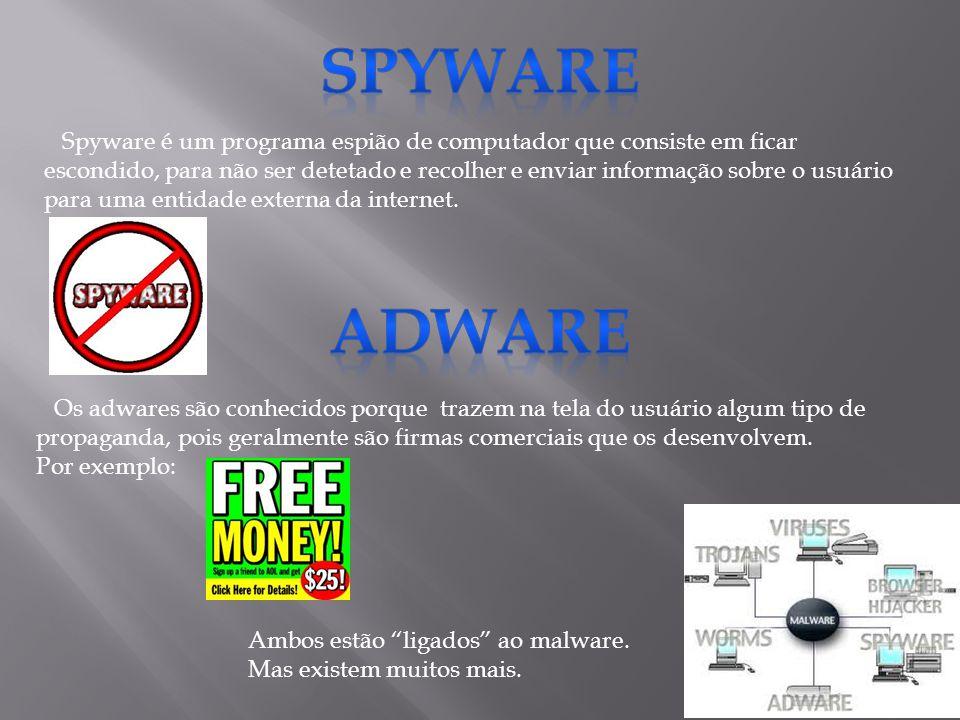 Spyware é um programa espião de computador que consiste em ficar escondido, para não ser detetado e recolher e enviar informação sobre o usuário para uma entidade externa da internet.