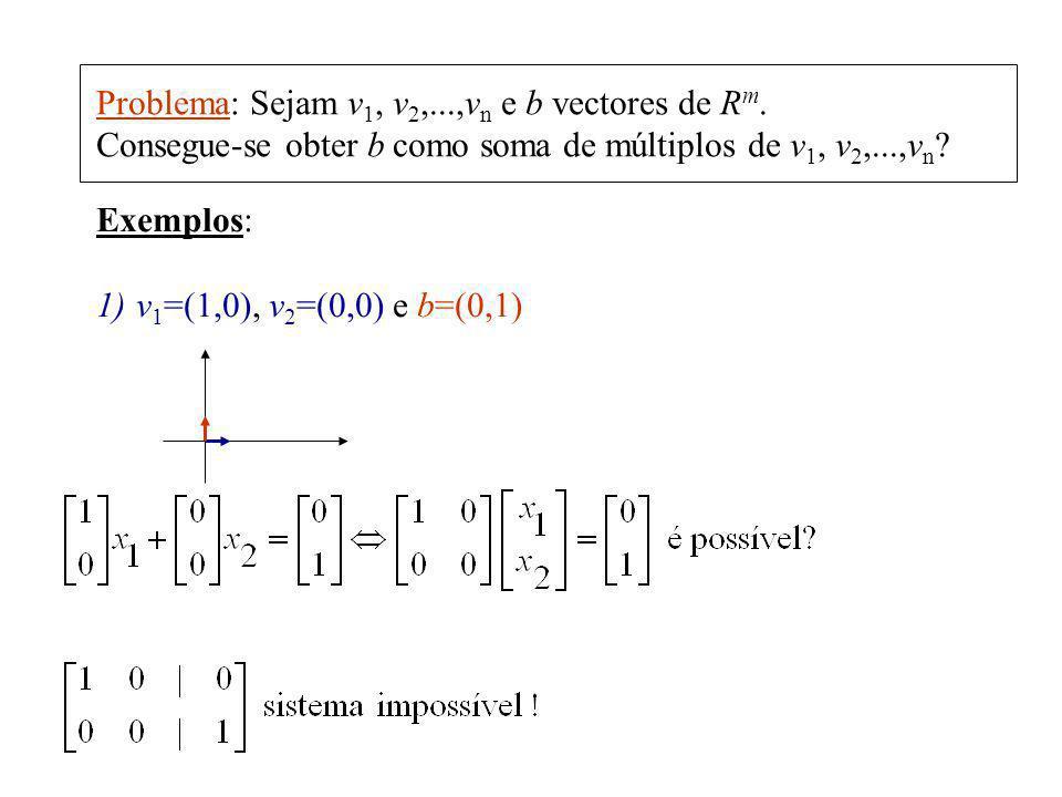 Problema: Sejam v 1, v 2,...,v n e b vectores de R m. Consegue-se obter b como soma de múltiplos de v 1, v 2,...,v n ? Exemplos: 1)v 1 =(1,0), v 2 =(0