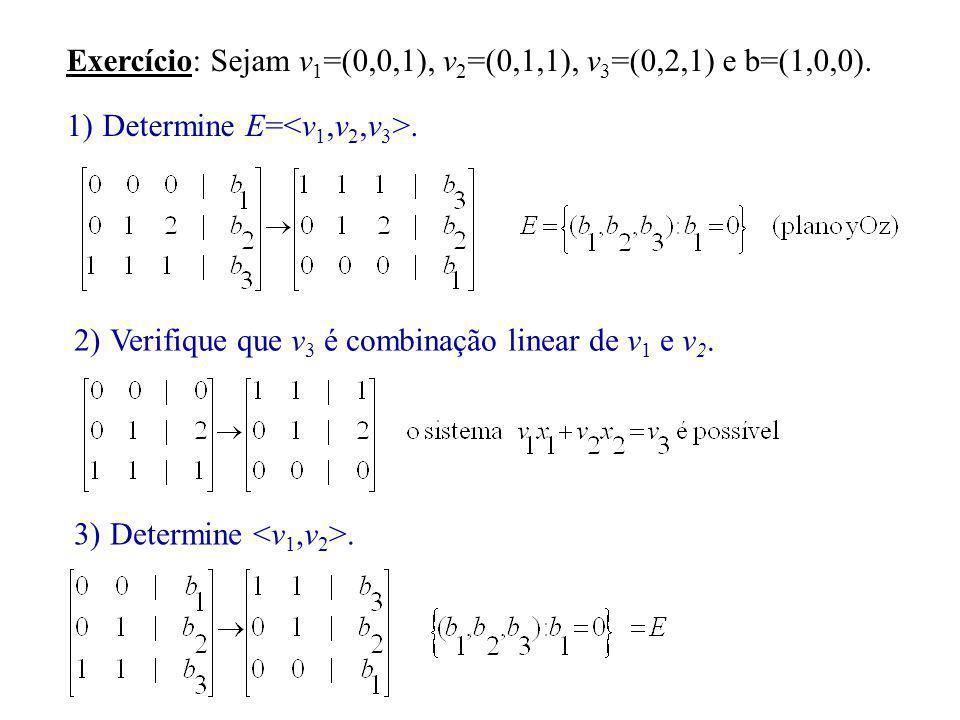 Exercício: Sejam v 1 =(0,0,1), v 2 =(0,1,1), v 3 =(0,2,1) e b=(1,0,0). 1)Determine E=. 2)Verifique que v 3 é combinação linear de v 1 e v 2. 3)Determi