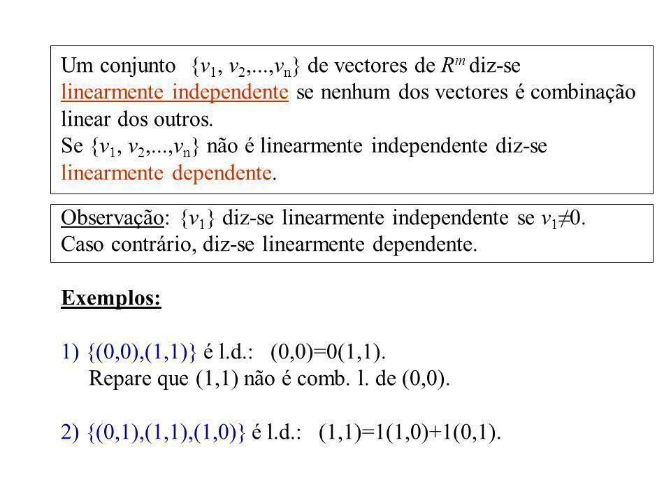 Um conjunto {v 1, v 2,...,v n } de vectores de R m diz-se linearmente independente se nenhum dos vectores é combinação linear dos outros. Se {v 1, v 2
