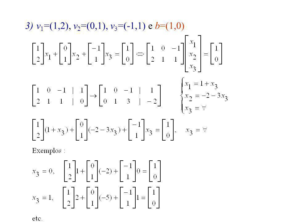3) V={v 1,v 2,v 3,v 4 } em que v 1 =(1,0,1,1), v 2 =(0,1,2,1), v 3 = (2,-1,0,1), v 4 =(0,0,3,3).
