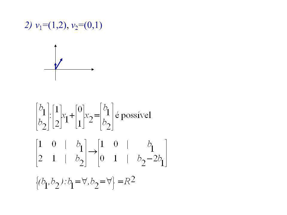 2)v 1 =(1,2), v 2 =(0,1)