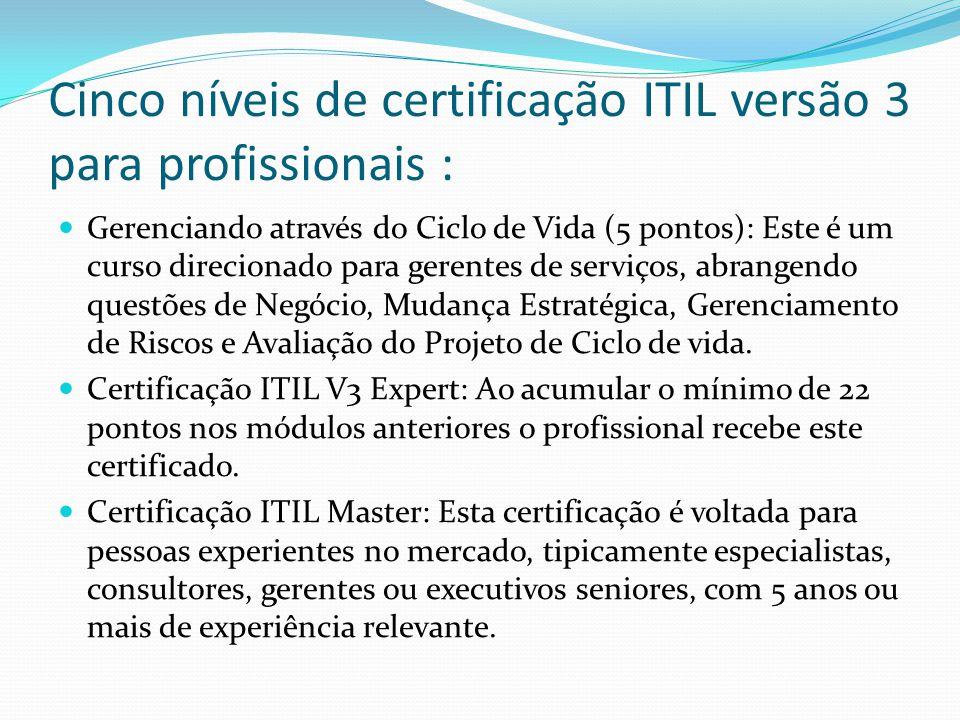 Cinco níveis de certificação ITIL versão 3 para profissionais : Gerenciando através do Ciclo de Vida (5 pontos): Este é um curso direcionado para gerentes de serviços, abrangendo questões de Negócio, Mudança Estratégica, Gerenciamento de Riscos e Avaliação do Projeto de Ciclo de vida.