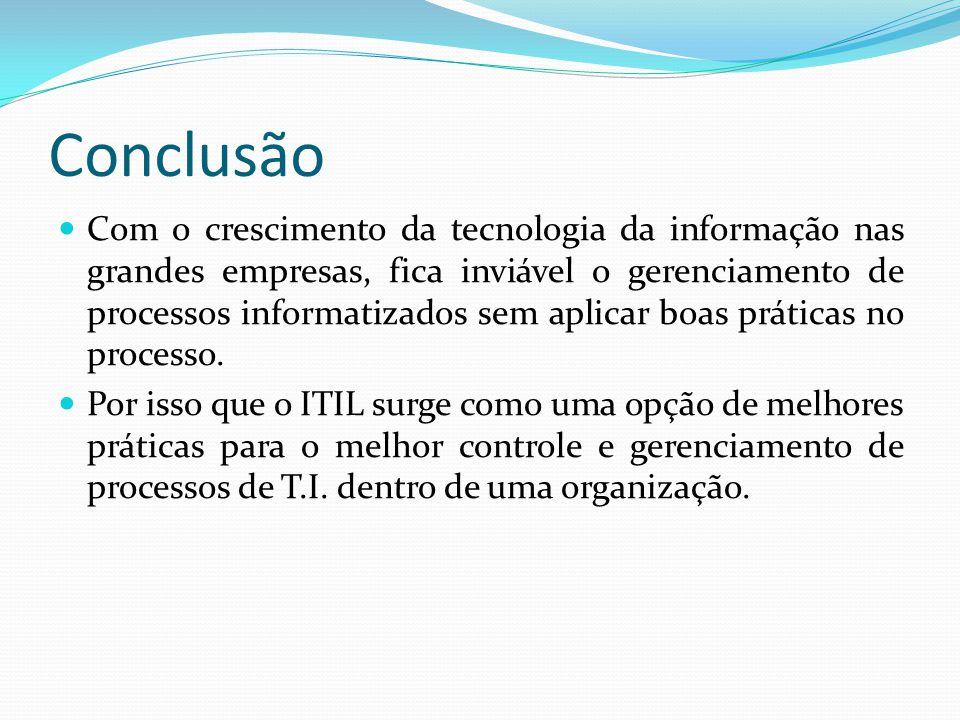 Conclusão Com o crescimento da tecnologia da informação nas grandes empresas, fica inviável o gerenciamento de processos informatizados sem aplicar boas práticas no processo.