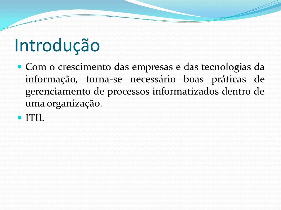 Introdução Com o crescimento das empresas e das tecnologias da informação, torna-se necessário boas práticas de gerenciamento de processos informatizados dentro de uma organização.