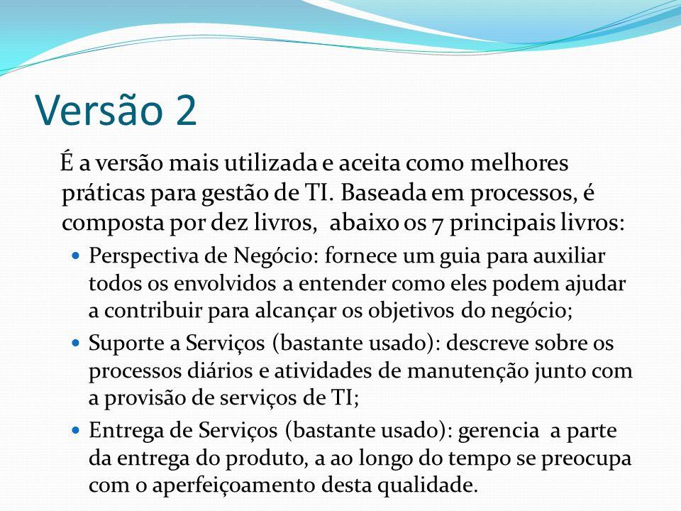 Versão 2 É a versão mais utilizada e aceita como melhores práticas para gestão de TI.