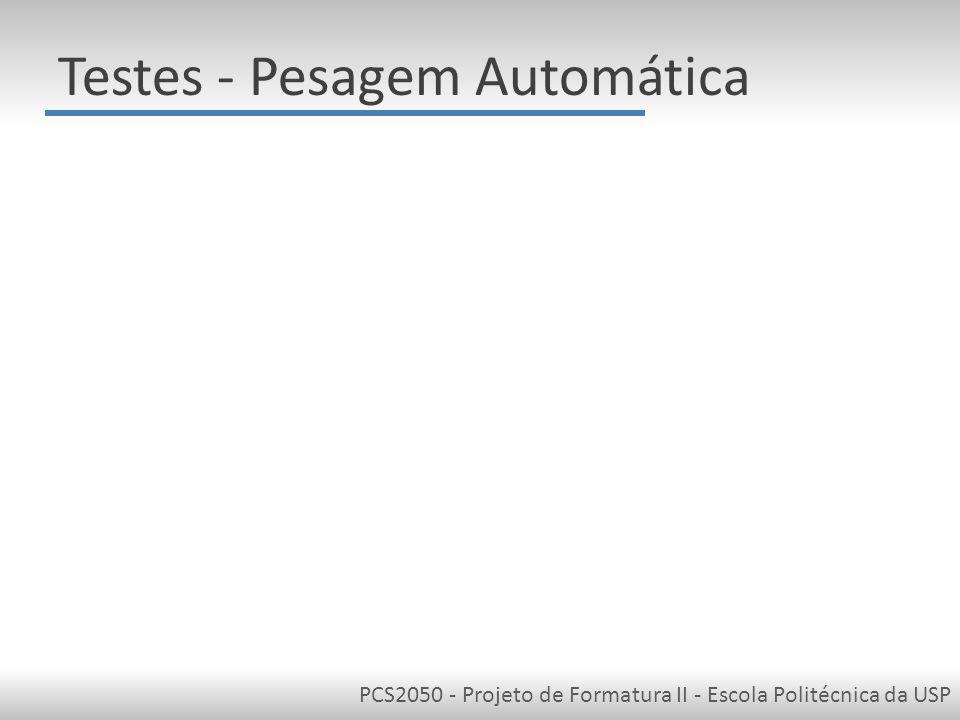 PCS2050 - Projeto de Formatura II - Escola Politécnica da USP Testes - Pesagem Automática