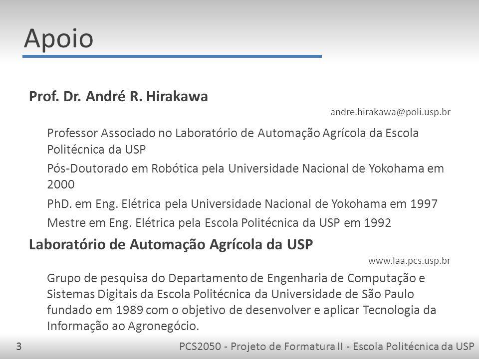 PCS2050 - Projeto de Formatura II - Escola Politécnica da USP3 Apoio Prof.