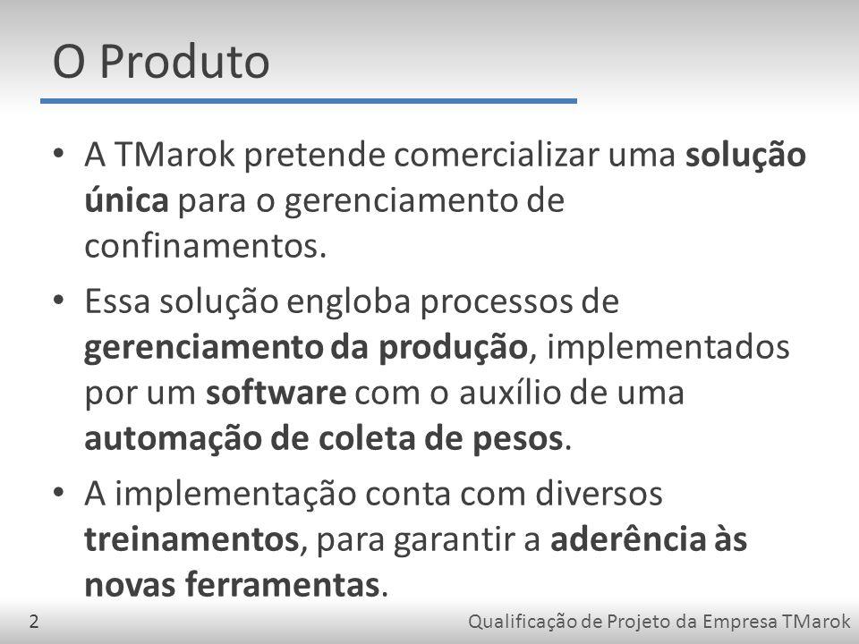 Qualificação de Projeto da Empresa TMarok2 O Produto A TMarok pretende comercializar uma solução única para o gerenciamento de confinamentos.