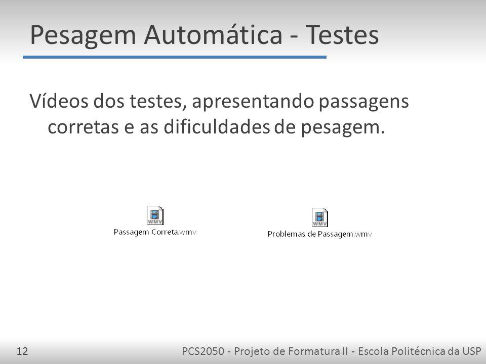 PCS2050 - Projeto de Formatura II - Escola Politécnica da USP12 Pesagem Automática - Testes Vídeos dos testes, apresentando passagens corretas e as dificuldades de pesagem.