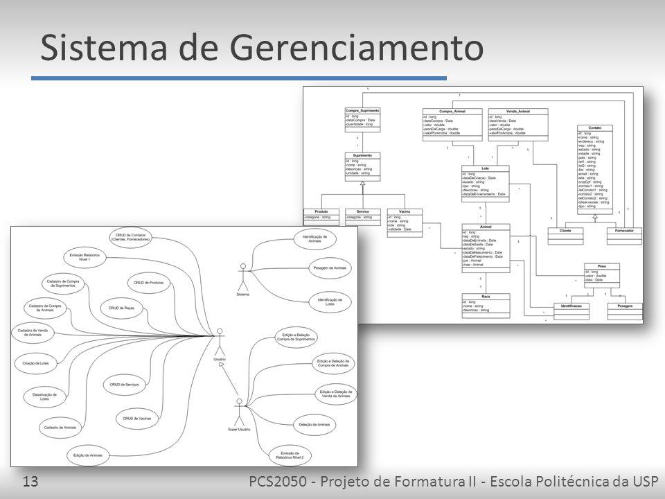 PCS2050 - Projeto de Formatura II - Escola Politécnica da USP13 Sistema de Gerenciamento