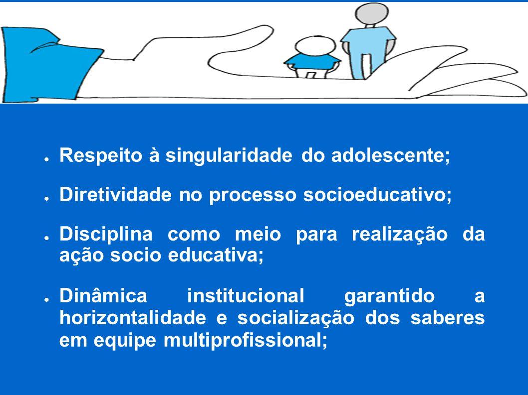 ● Respeito à singularidade do adolescente; ● Diretividade no processo socioeducativo; ● Disciplina como meio para realização da ação socio educativa; ● Dinâmica institucional garantido a horizontalidade e socialização dos saberes em equipe multiprofissional;