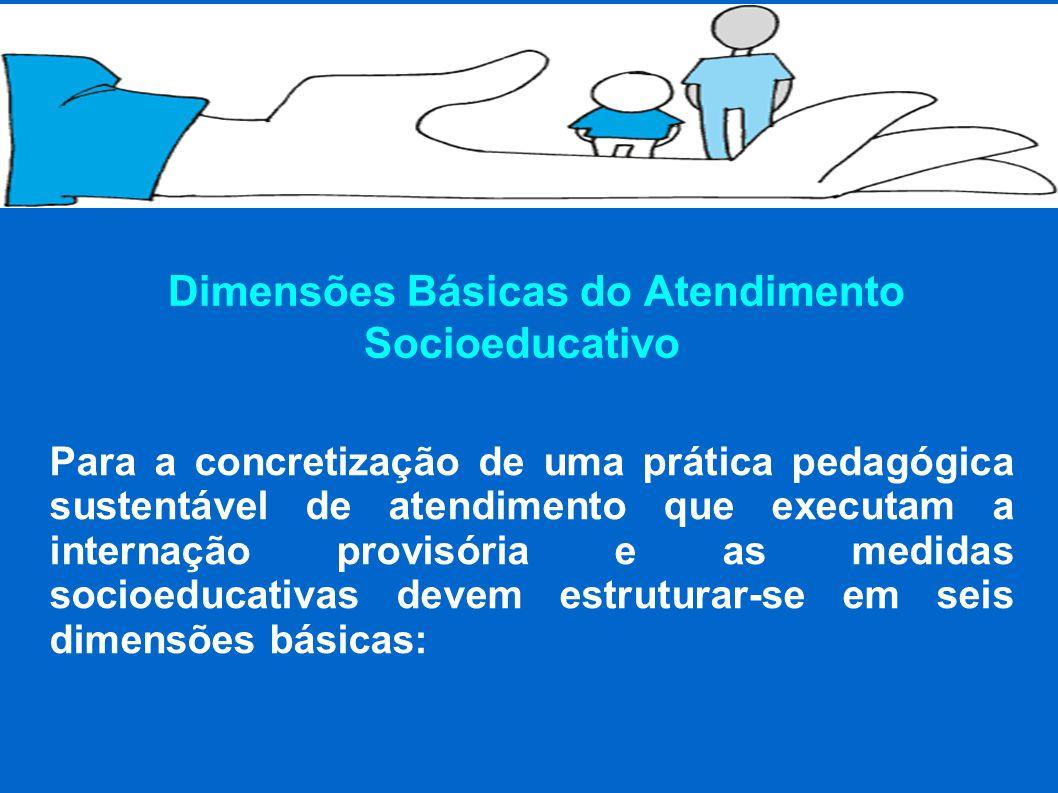 Dimensões Básicas do Atendimento Socioeducativo Para a concretização de uma prática pedagógica sustentável de atendimento que executam a internação provisória e as medidas socioeducativas devem estruturar-se em seis dimensões básicas: