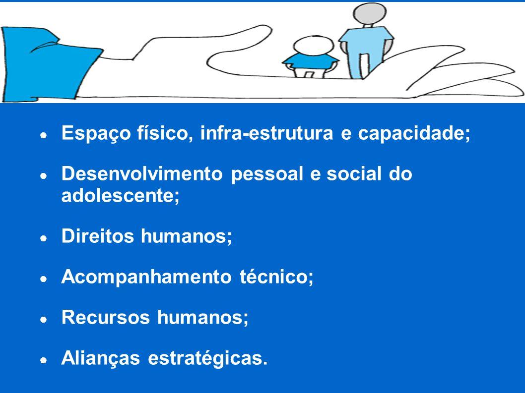 ● Espaço físico, infra-estrutura e capacidade; ● Desenvolvimento pessoal e social do adolescente; ● Direitos humanos; ● Acompanhamento técnico; ● Recursos humanos; ● Alianças estratégicas.