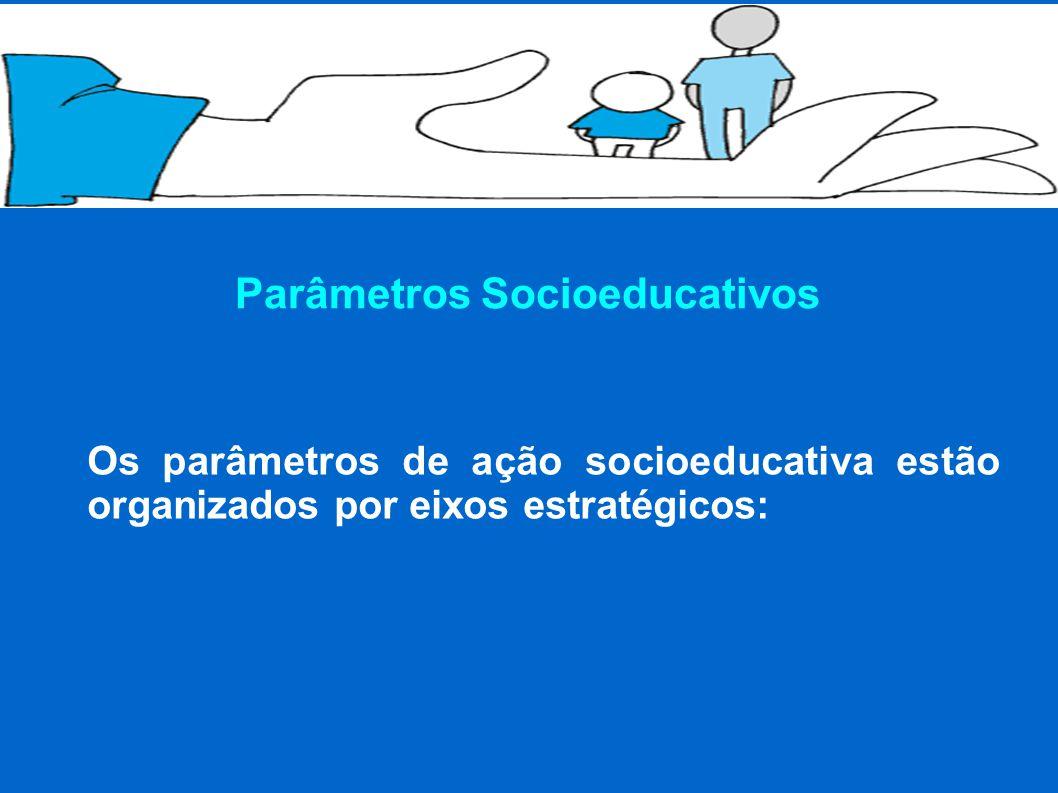 Parâmetros Socioeducativos Os parâmetros de ação socioeducativa estão organizados por eixos estratégicos: