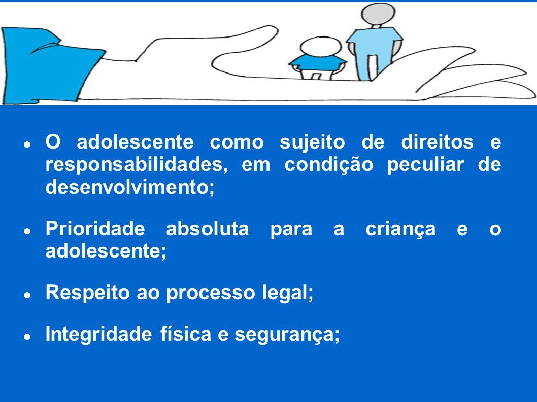 ● O adolescente como sujeito de direitos e responsabilidades, em condição peculiar de desenvolvimento; ● Prioridade absoluta para a criança e o adolescente; ● Respeito ao processo legal; ● Integridade física e segurança;