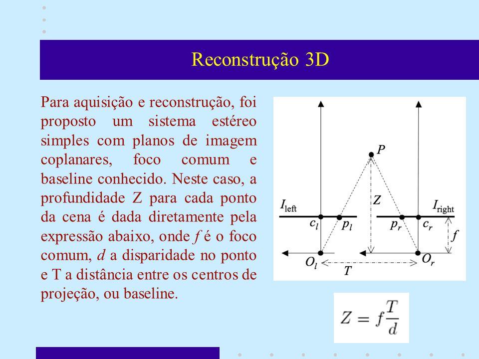 Reconstrução 3D Para aquisição e reconstrução, foi proposto um sistema estéreo simples com planos de imagem coplanares, foco comum e baseline conhecido.